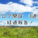 ブログ開始3週間の経過報告!